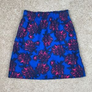 J. Crew blue and pink floral pull on skirt 00